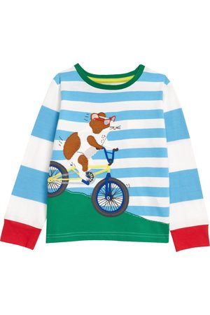 Boden Toddler Boy's Kids' Mouse Bicycle Applique Stripe Long Sleeve T-Shirt