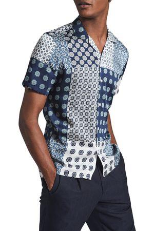 Reiss Men's Jamie Patchowork Mix Print Short Sleeve Button-Up Shirt