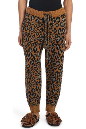 Alanui Men's Espiritu Salvaje Leopard Jacquard Wool Blend Sweater Joggers