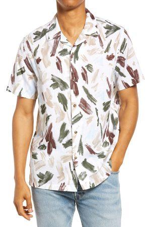 Topman Men's Short Sleeve Cotton Button-Up Shirt