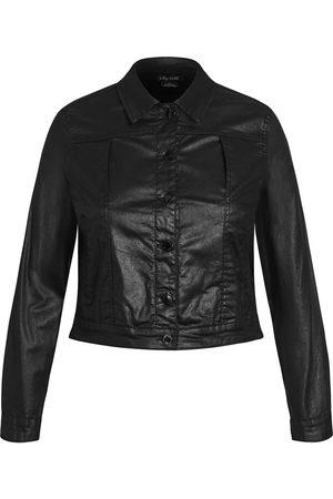 City Chic Plus Size Women's Wet Look Crop Faux Leather Jacket