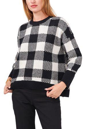 Chaussmoi Women's Buffalo Check Crewneck Sweater