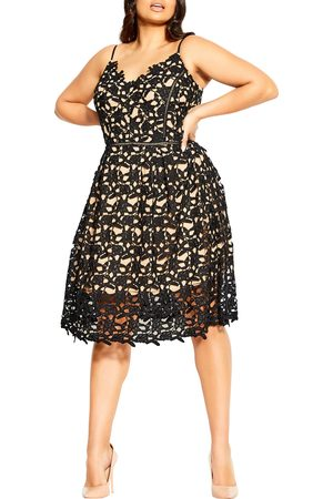 City Chic Plus Size Women's So Fancy Cotton Embroidered Lace Fit & Flare Dress
