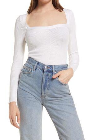 Topshop Women's Square Neck Rib Sweater