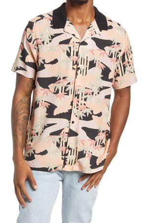 Topman Men's Men's Palm & Camo Print Short Sleeve Button-Up Shirt
