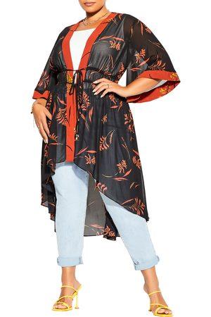 City Chic Plus Size Women's Floral Leaf Jacket