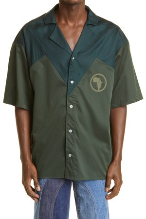Ahluwalia Men's Robyn Africa Graphic Short Sleeve Button-Up Camp Shirt