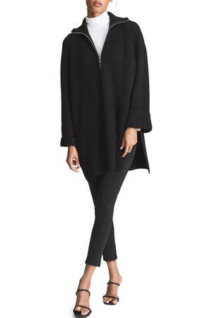 Reiss Women's Jean Wool Blend Half Zip Tunic Sweater