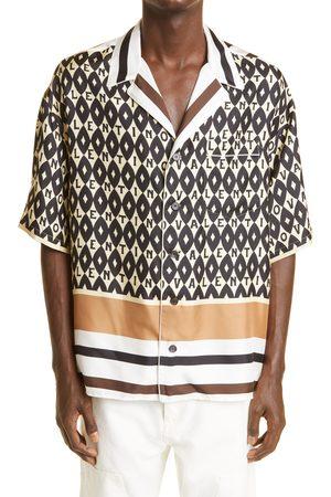 VALENTINO Men's Archive Logo Print Short Sleeve Button-Up Silk Twill Shirt