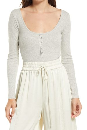 Open Edit Women's Henley Organic Cotton Blend Bodysuit