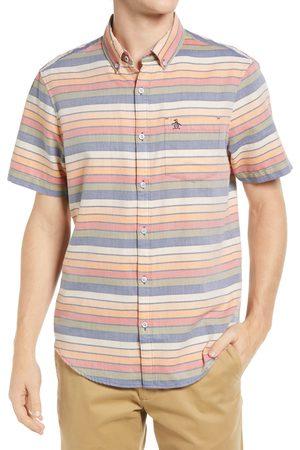Original Penguin Men's Stripe Short Sleeve Cotton Button-Down Shirt