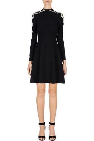 Armani Women Party Dresses - Emporio Double Jacquard Knit Long Sleeve Mini Dress