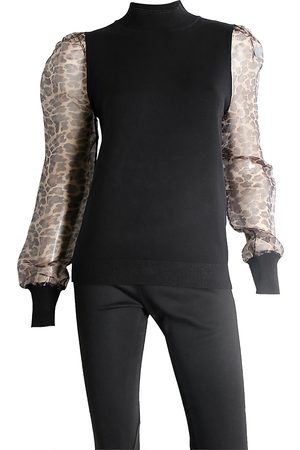 Sioni Women Sweaters - Leopard Sleeve Sweater
