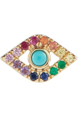 Sydney Evan Evil Eye 14kt gold single earring with turquoise and diamonds
