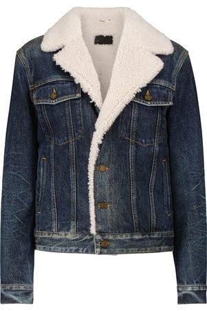 Saint Laurent Shearling-trimmed denim jacket