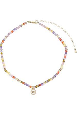 Sydney Evan Evil Eye 14kt gold beaded necklace with diamonds