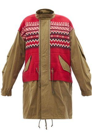 JUNYA WATANABE Women Coats - Fair Isle-patchwork Cotton-canvas Coat - Womens - Khaki Multi