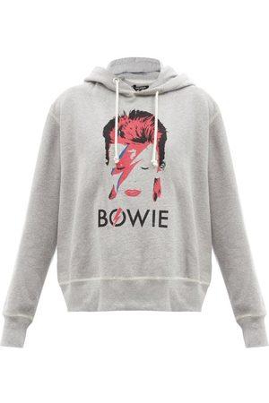 JUNYA WATANABE Bowie-print Cotton-jersey Hooded Sweatshirt - Womens - Grey