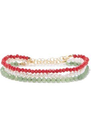Hermina Athens Set Of Three Pearl, Aventurine & Crystal Bracelets - Womens - Multi