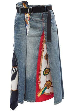 JUNYA WATANABE Asymmetric Waist Denim And Silk Scarf Skirt - Womens - Mid Denim