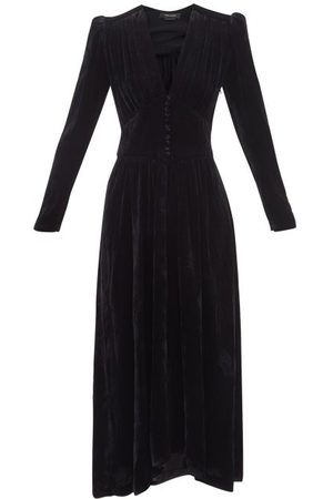Isabel Marant Moyrani V-neck Velvet Midi Dress - Womens
