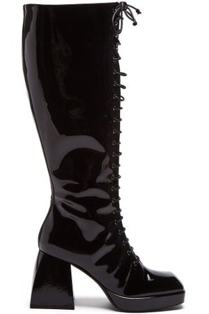 NODALETO Women Lace-up Boots - Bulla Ward Lace-up Patent-leather Boots - Womens