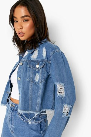 Boohoo Womens Cropped Distressed Jean Jacket - - 2