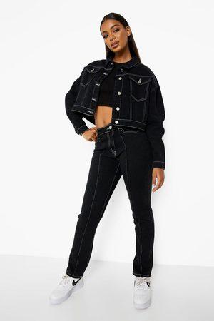 Boohoo Womens Contrast Stitch Oversized Jean Jacket - - 2