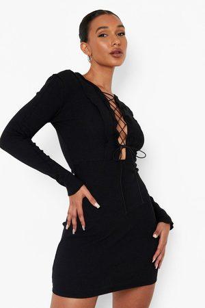 Boohoo Womens Premium Rib Panelled Lace Up Mini Dress - - 4