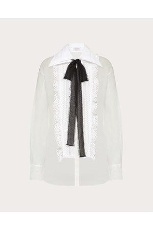 VALENTINO Women Shirts - Embroidered Organza Shirt Women Ivory 100% Silk 40