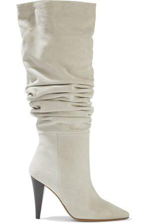 IRO Woman Bailey Gathered Suede Knee Boots Ecru Size 36