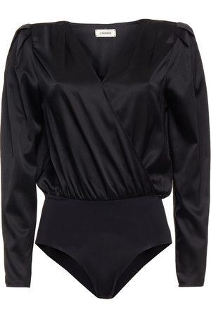 L'Agence Woman Brenda Wrap-effect Silk-blend Satin Bodysuit Size L