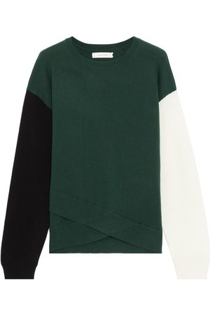 Chinti & Parker Woman Layered Color-block Wool And Cashmere-blend Sweater Emerald Size L
