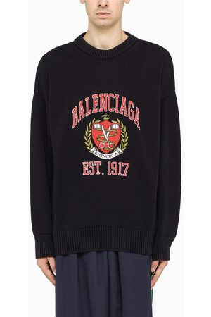 Balenciaga Navy pullover with College-embroidery