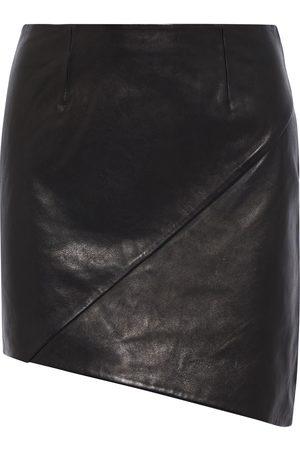 IRO Woman Hemy Asymmetric Leather Mini Skirt Size 34