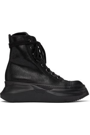 Rick Owens Denim Foil Abstract High Sneakers