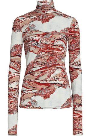 Proenza Schouler Swirl Print Turtleneck Top