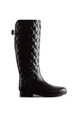 Hunter Women's Refined Slim Fit Adjustable Quilted Tall Rain Boots