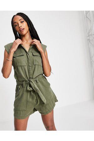 ONLY Women T-shirts - Sleeveless utility romper in khaki