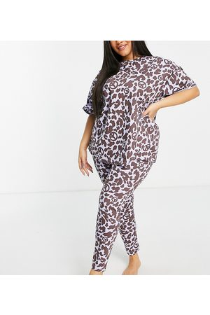 ASOS ASOS DESIGN Curve oversized animal peace tee & legging pajama set in blue & brown-Multi