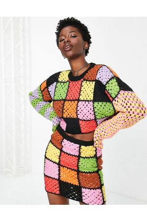The Ragged Priest Women Cardigans - Oversized cropped sweater in rainbow crochet patchwork - part of a set-Multi