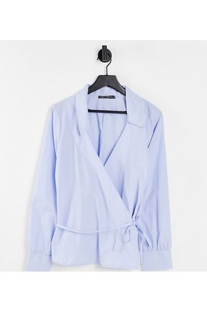 I Saw It First Curve Women Wrap tops - I Saw It First Plus wrap detail shirt in blue-Blues