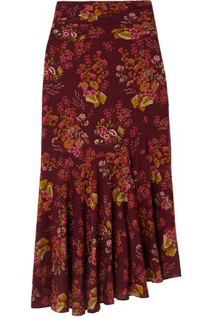 Peony Women Printed Skirts - Ruched Floral-Print Organic Cotton-Blend Skirt