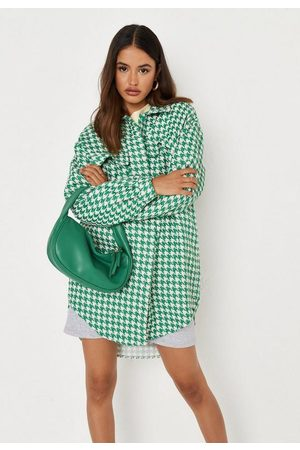 Missguided Boucle Houndstooth Oversized Shirt Dress