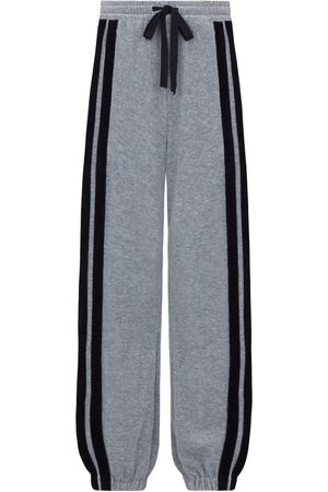 SERENA BUTE Women Tracksuits - The Classic Wide Leg Jogger Gathered - Grey & Black Velour