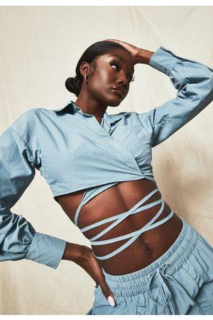 Missguided Nylon Wrap Tie Crop Shirt