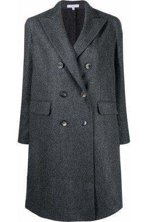 Boglioli Women Coats - Grey Fitted Double-Breasted Coat