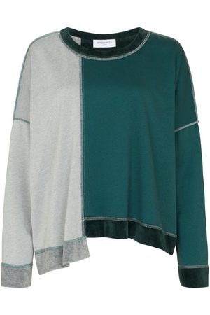 SERENA BUTE The Versatile Asymmetric Top - Moss Green & Grey Velour