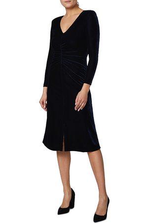 Shelli Segal Ruched Velvet Midi Dress