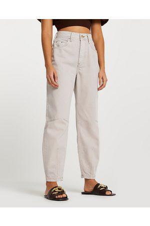 Women High Waisted - River Island Womens Ecru high waisted tapered jeans